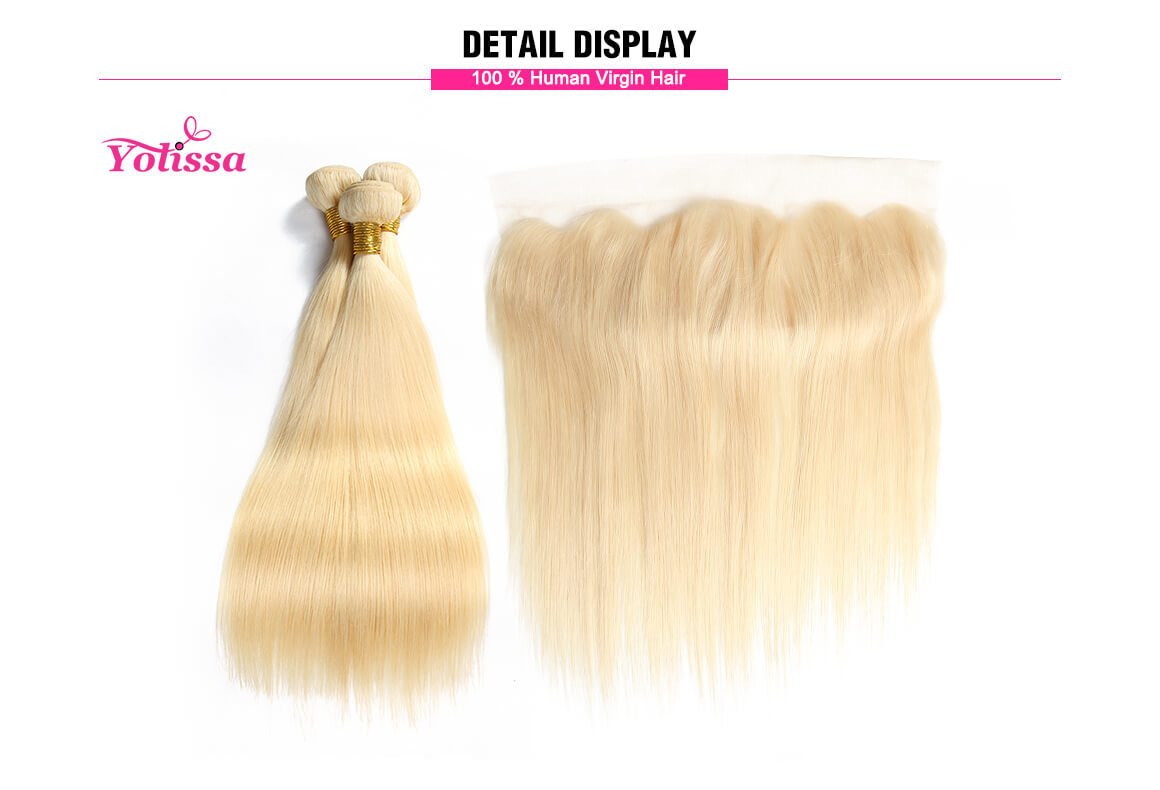 #613 Blonde Lace Frontal With 3 Bundles Straight Human Hair Weaves