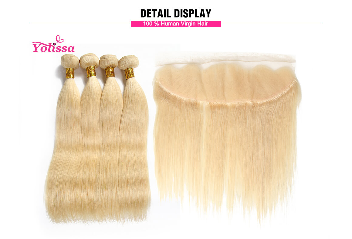 blonde straight human virgin hair 4 bundles with 13x4 lace frontal