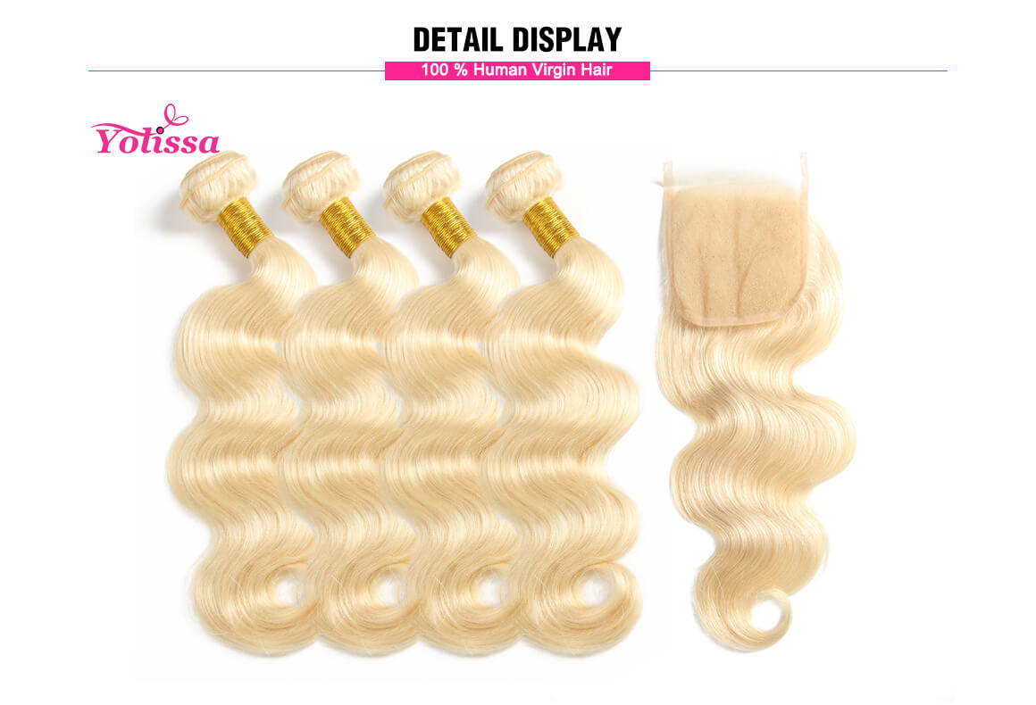 4x4 body wave lace closure with 4 hair bundles extensions