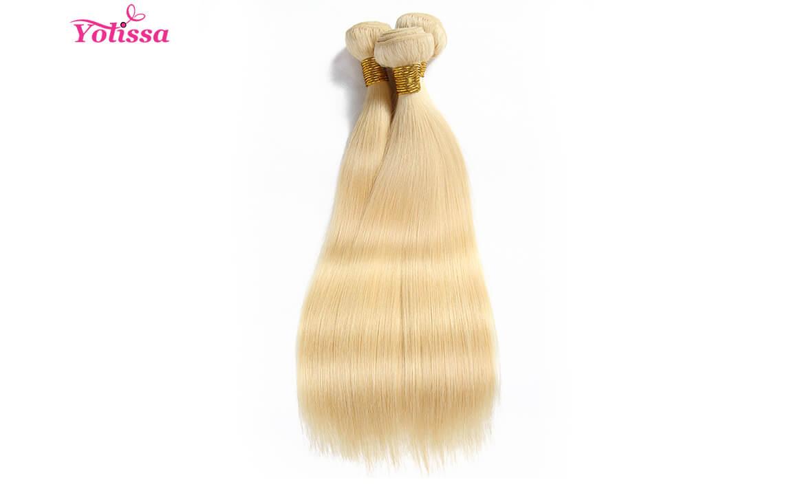 Human Hair  Straight 3 Bundles 613 Blonde Hair Color