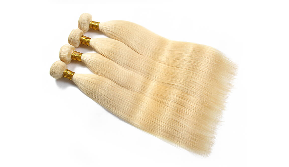 Straight Blonde Hair 4 Bundles With Hand-tied Lace Closure 4*4