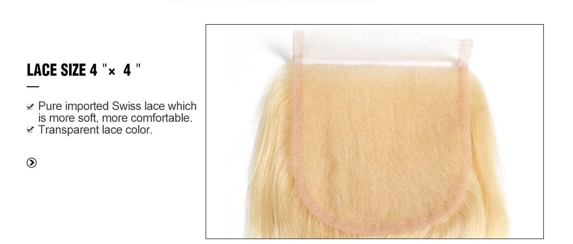 4x4 blonde body wave human virgin hair lace closure