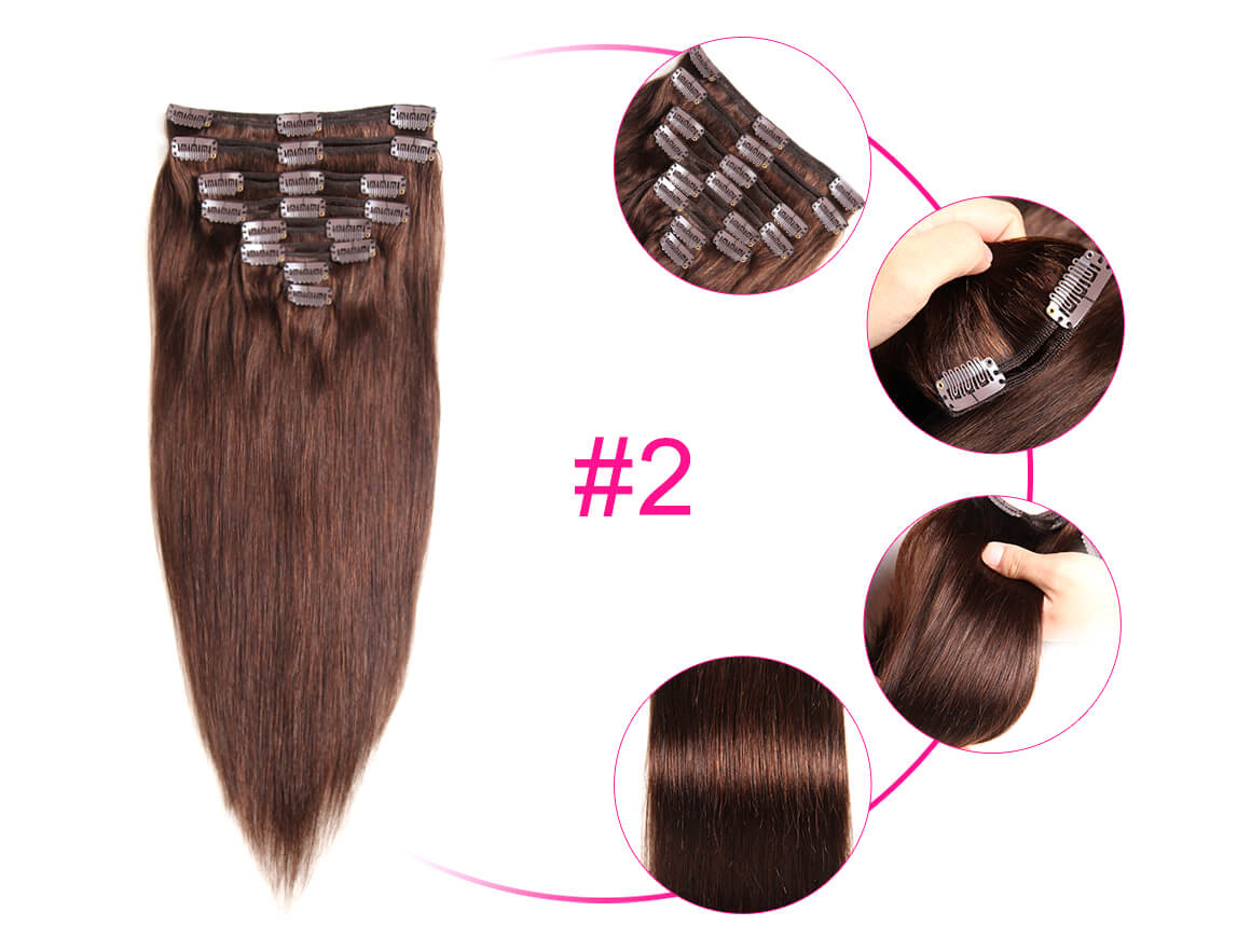 Clip In Straight Human Hair Extensions