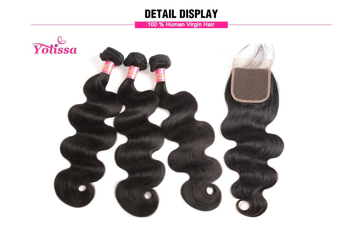 brazilian hair body wave bundles with closure 4*4