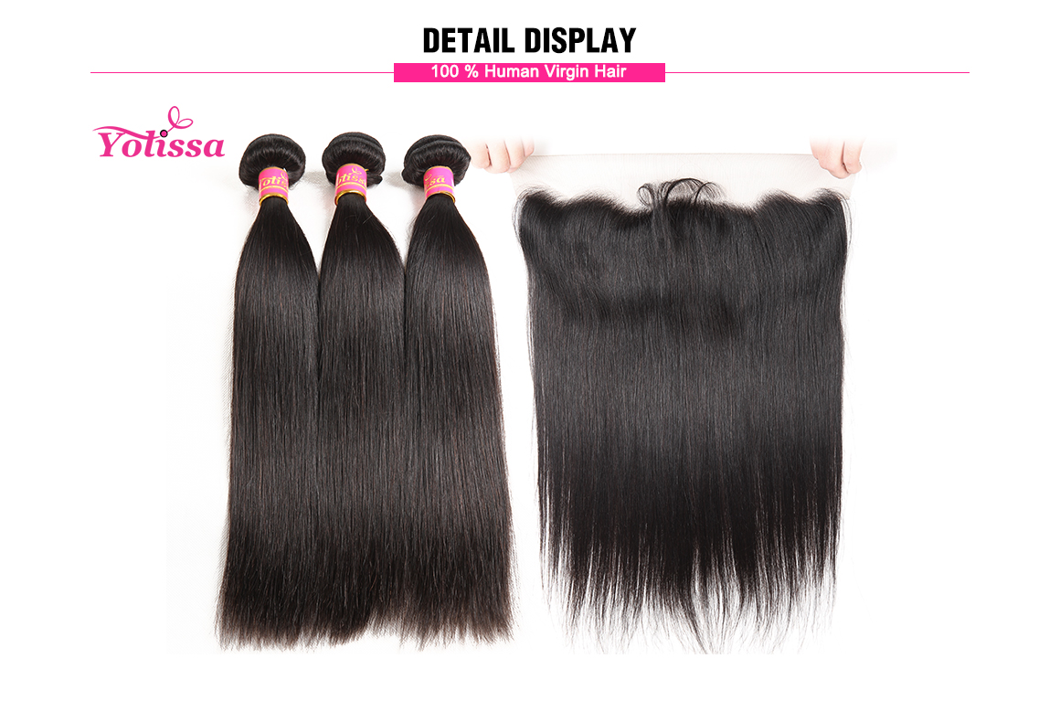 Lace Frontal with 3pcs Straight Virgin Brazilian Yolissa Hair Extensions