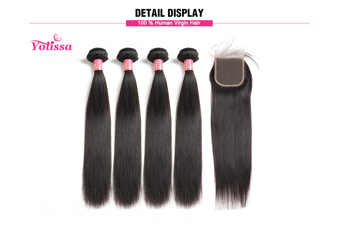 straight virgin hair lace closure with 4 bundles