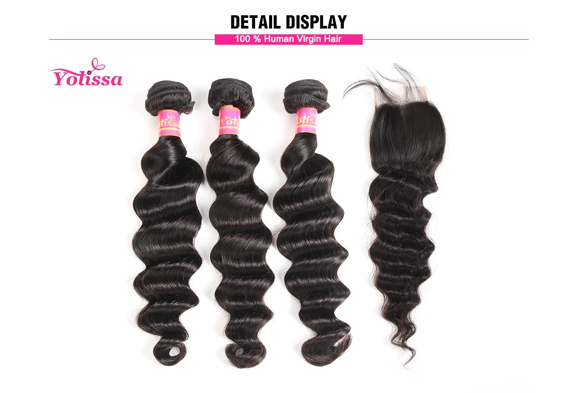 brazilian loose deep wave virgin hair bundles with 4*4 lace closure