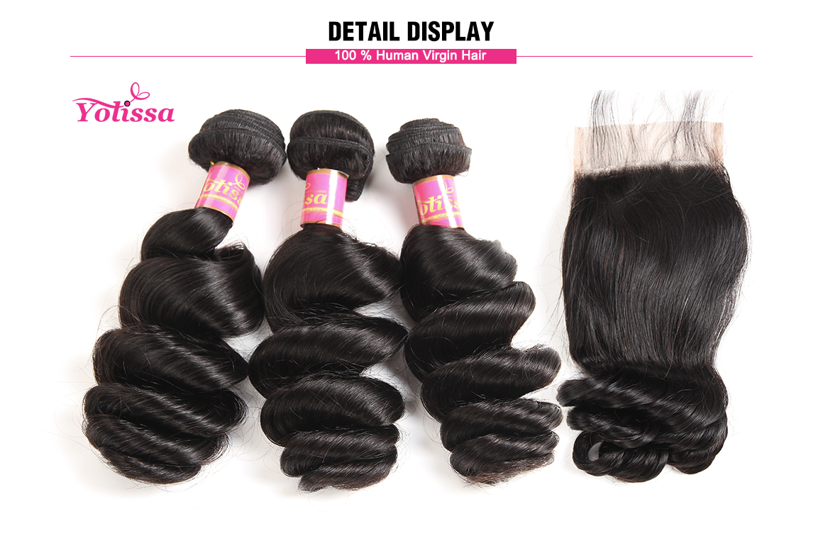 brazilian hair loose wave with lace closure
