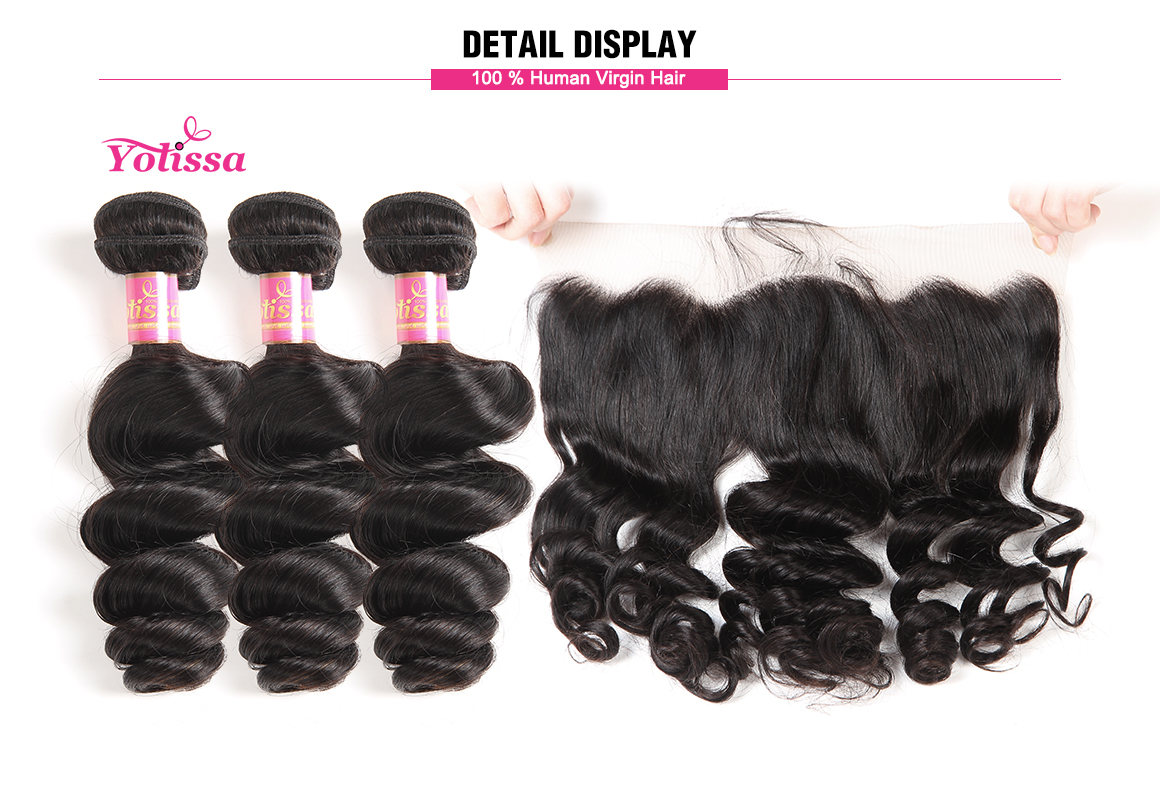 brazilian loose wave virgin hair bundles with lace frontal