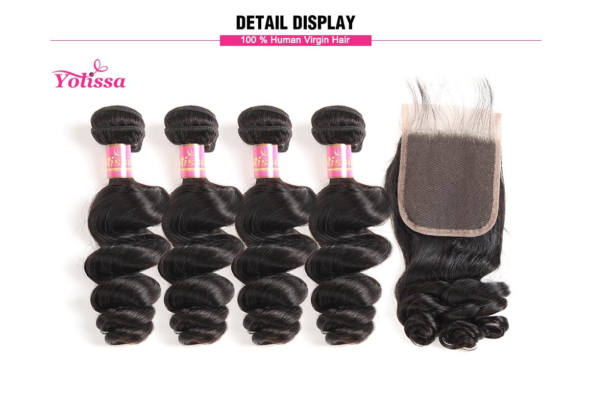 brazilian loose wave virgin hair bundles with lace closure