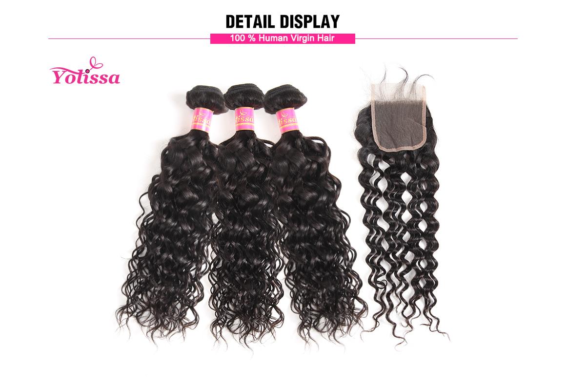 brazilian water wave virgin hair bundles with lace closure