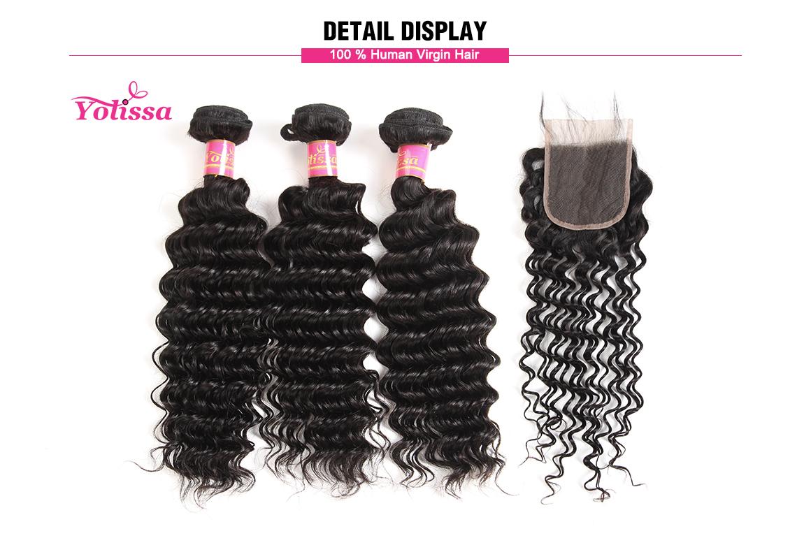 8-30 Inch Deep Wave Virgin Yolissa Hair 3 Bundles with Lace Closure 4*4