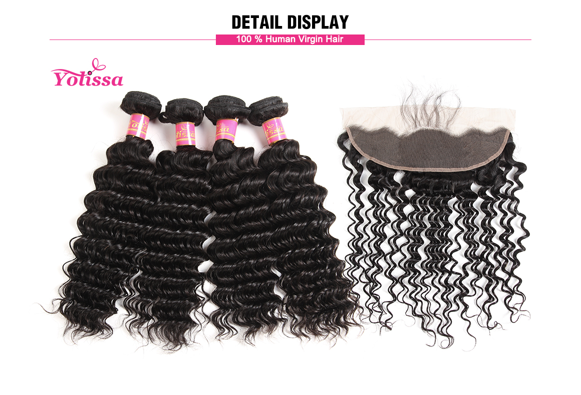 Yolissa 8-20 Inch Lace Frontal Closure with 4 Bundle Hair Brazilian Deep Wave Virgin Hair