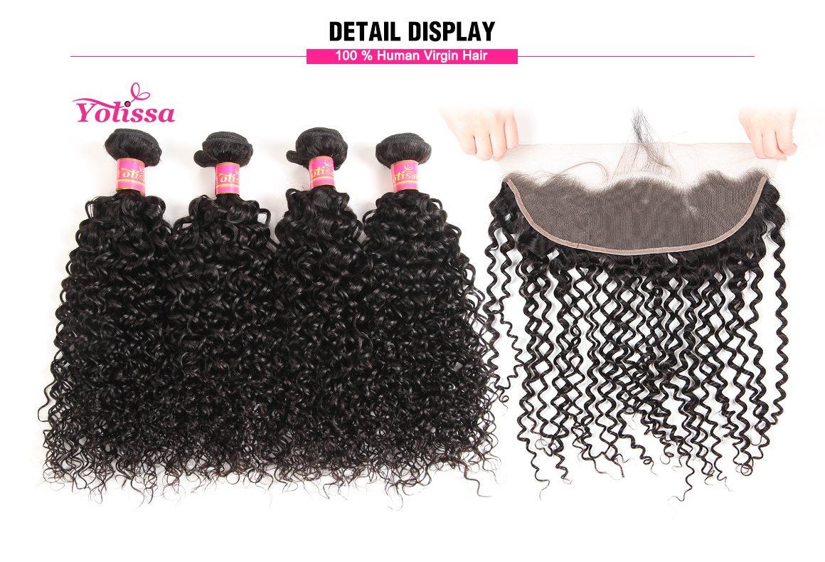 brazilian curly virgin hair bundles with lace frontal