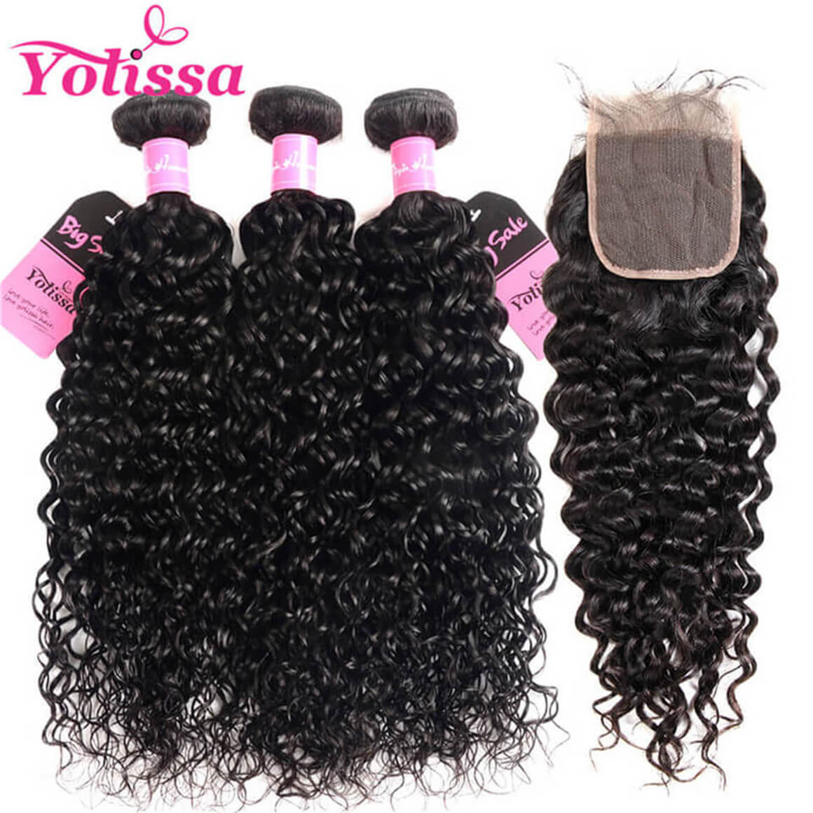 Wet And Wavy Water Wave Hair Bundles With Closure