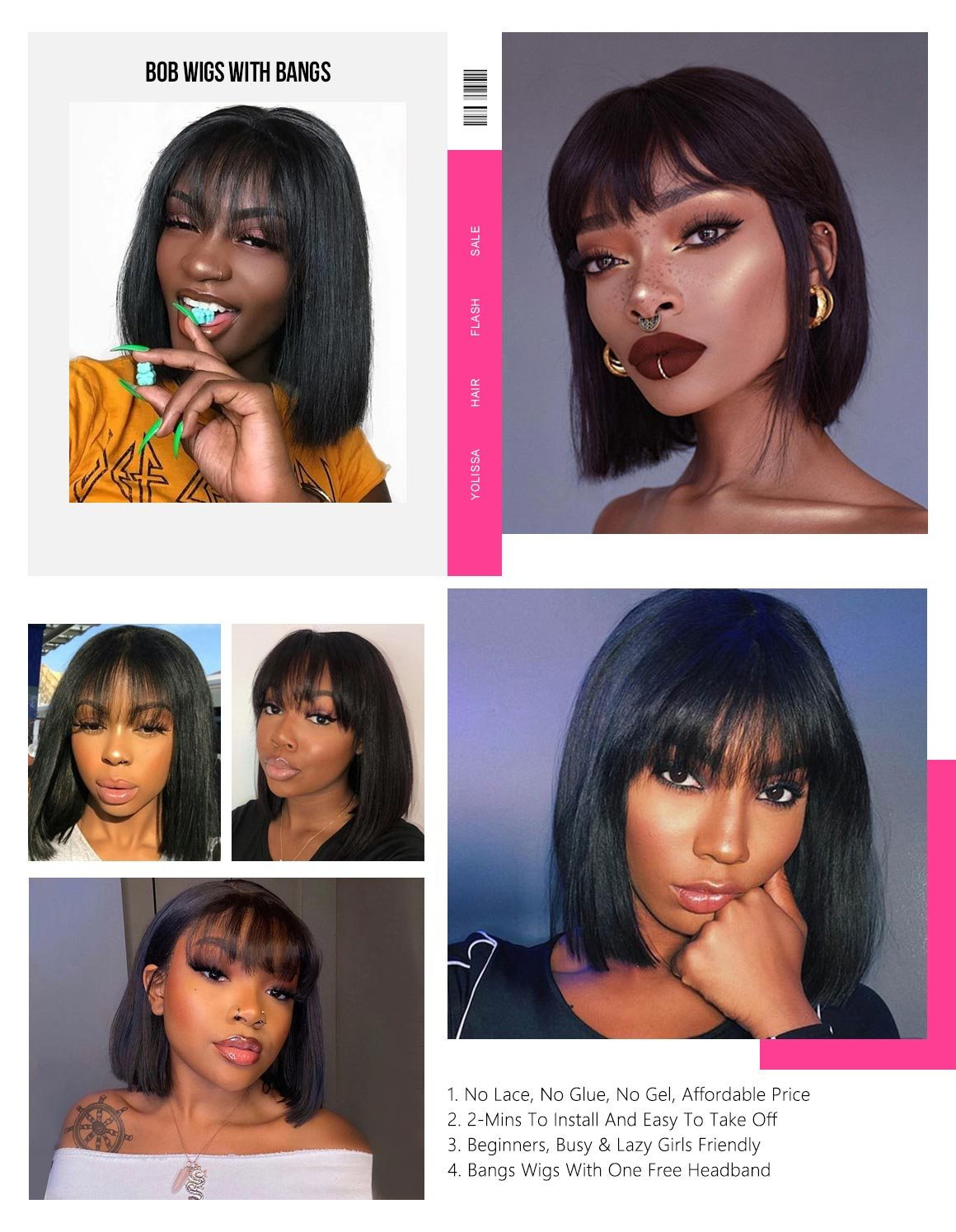 Ship In 24 Hours Straight Bob Wigs With Bangs 50% Off