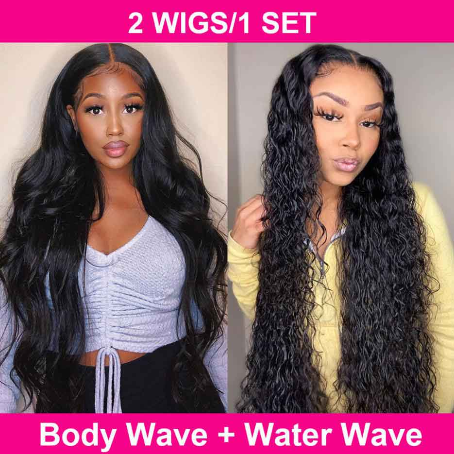 Buy One Body Wave T Part Wig Get One Water Wave T Part Wig