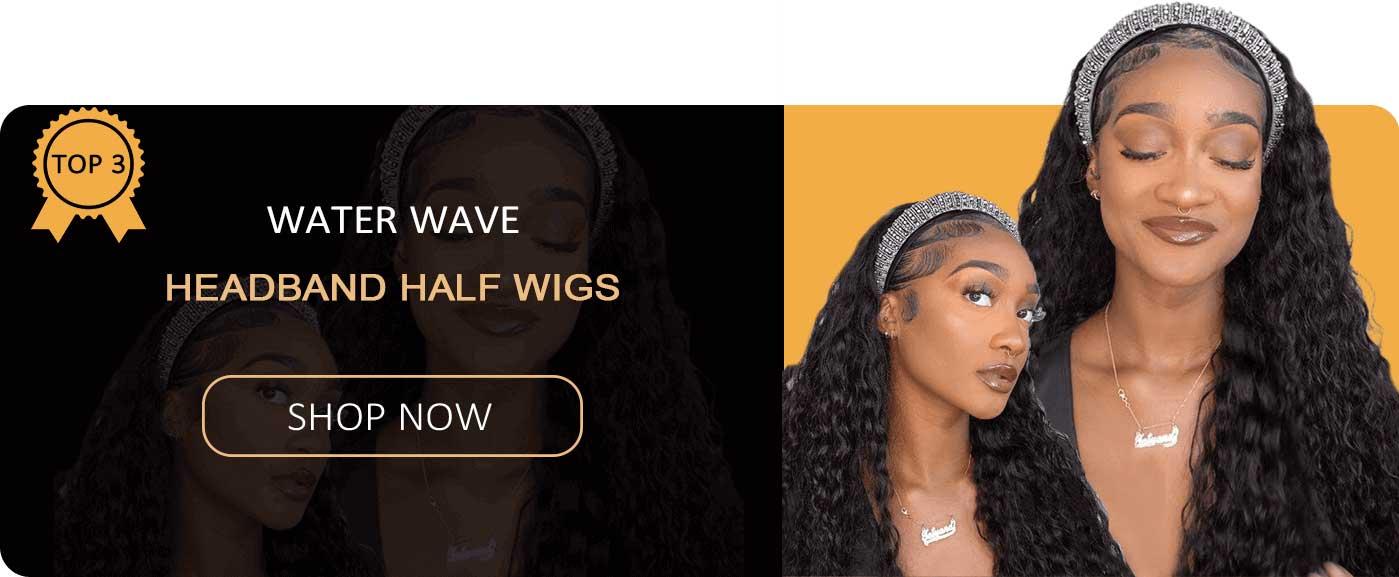 water wave headband half wigs