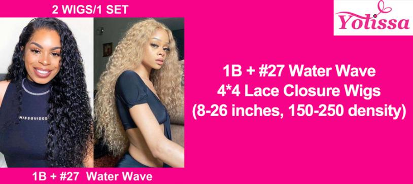1B + #27 Water Wave 4*4 Lace Closure Wigs