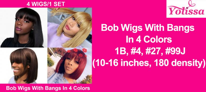 Bob Wigs With Bangs In 4 Colors