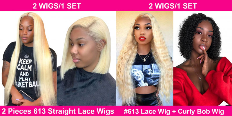Pay one get one long hair wigs + one short bob wigs