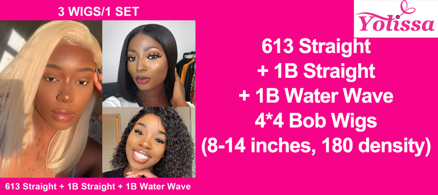 Pay one get three bob wigs: 3 wigs in one package