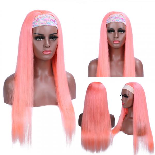 pink straight headband wig