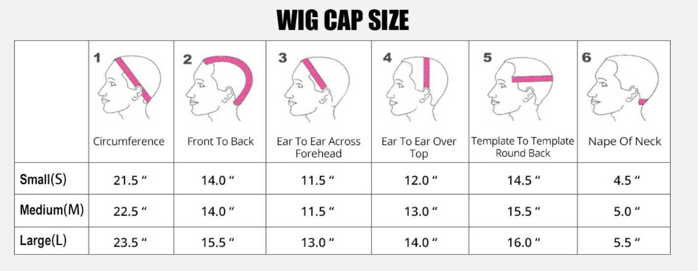 cap size of lace wigs