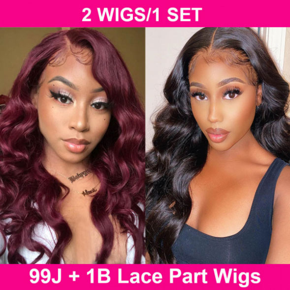 1B and 99J Body Wave Lace Part Wigs Combo